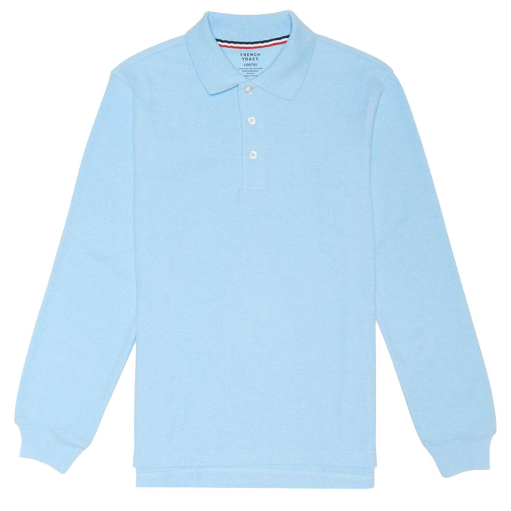 e77d8e692 Long Sleeve Pique Polo Shirt - Boys - Light Blue – Kids For Less