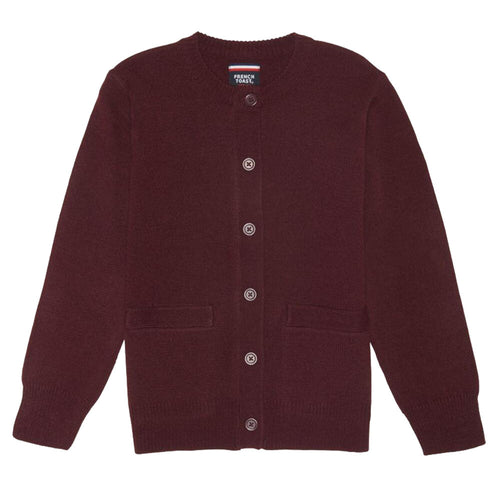 Crew-neck Cardigan - Girls - Burgundy