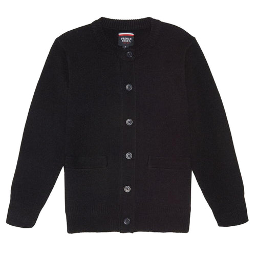 Crew-neck Cardigan - Girls - Navy