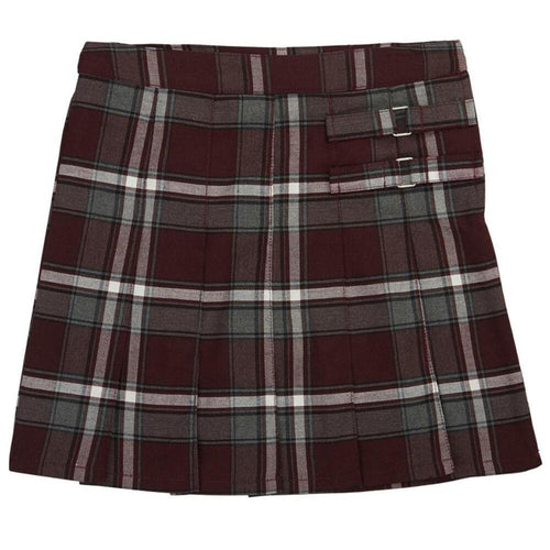 2-Tab Pleated Plaid Scooter - Girls - Burgundy