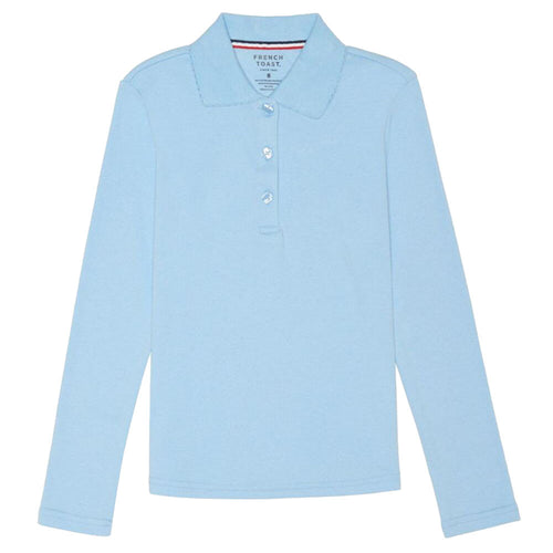 Long Sleeve Knit Polo With Picot Collar - Girls - Light Blue