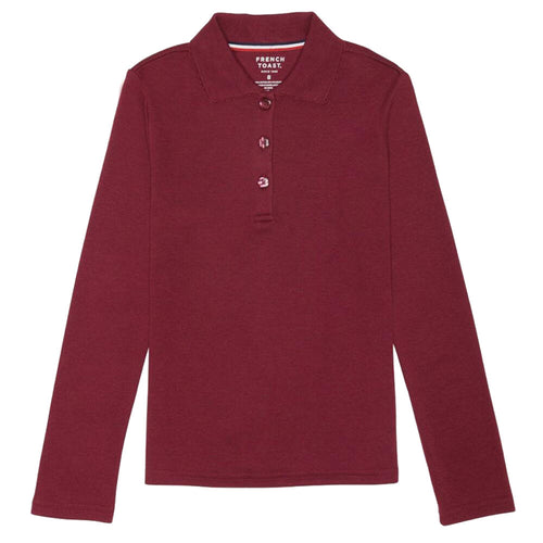 Long Sleeve Knit Polo With Picot Collar - Girls - Burgundy