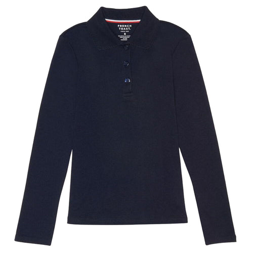 Long Sleeve Knit Polo With Picot Collar - Girls - Navy