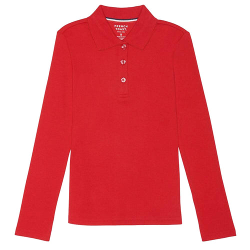 Long Sleeve Knit Polo With Picot Collar - Girls - Red