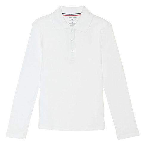 Long Sleeve Knit Polo With Picot Collar - Girls - White