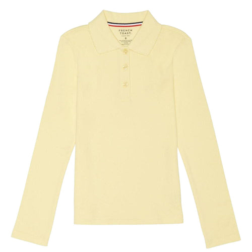 Long Sleeve Knit Polo With Picot Collar - Girls - Yellow