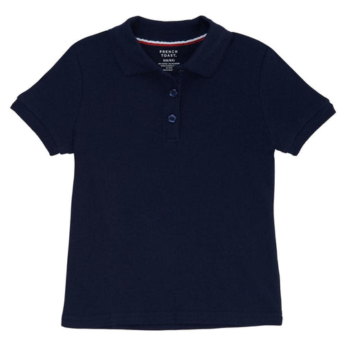 Short Sleeve Knit Polo With Picot Collar - Girls - Navy