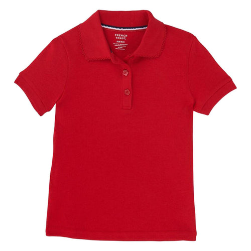 Short Sleeve Knit Polo With Picot Collar - Girls - Red