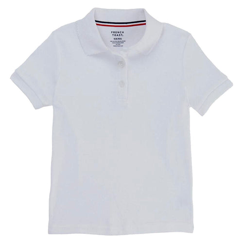 Short Sleeve Knit Polo With Picot Collar - Girls - White