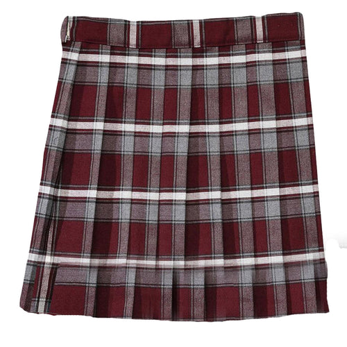 Pleated Plaid Skirt - Girls - Burgundy