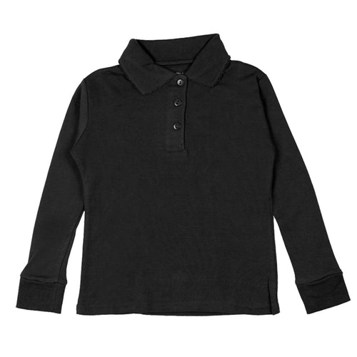 Long Sleeve Interlock Polo - Girls - Black