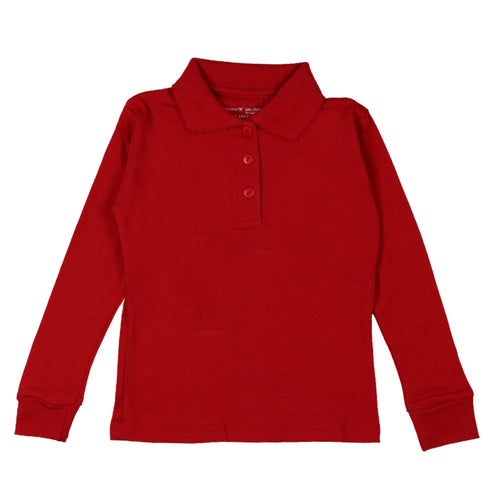 Long Sleeve Interlock Polo - Girls - Red