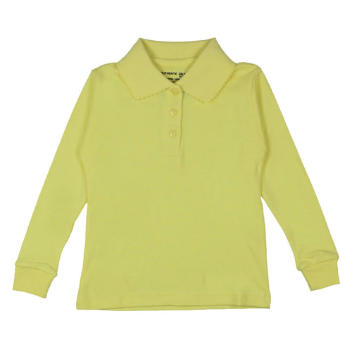 Long Sleeve Interlock Polo - Girls - Yellow