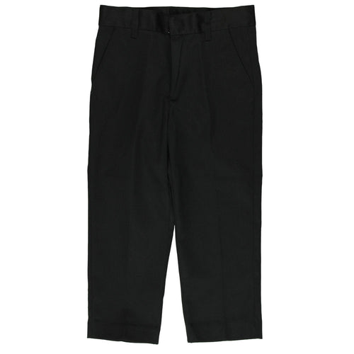 Flat Front Pants Double Knee-Adjustable Waist - Boys - Black