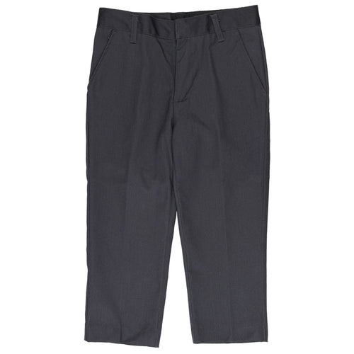 Flat Front Pants Double Knee-Adjustable Waist - Boys - Grey