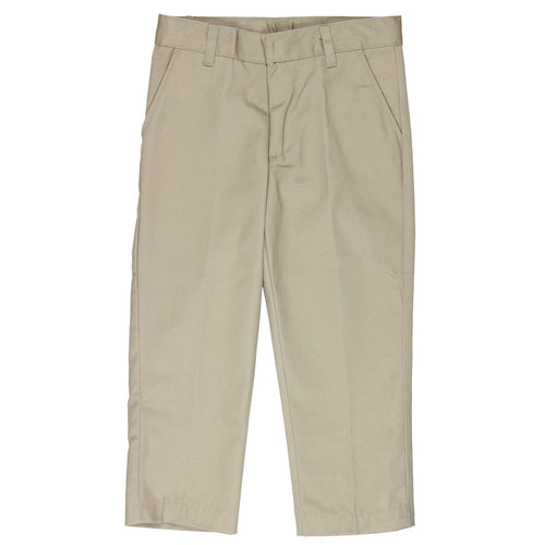 Flat Front Pants Double Knee-Adjustable Waist - Boys - Khaki