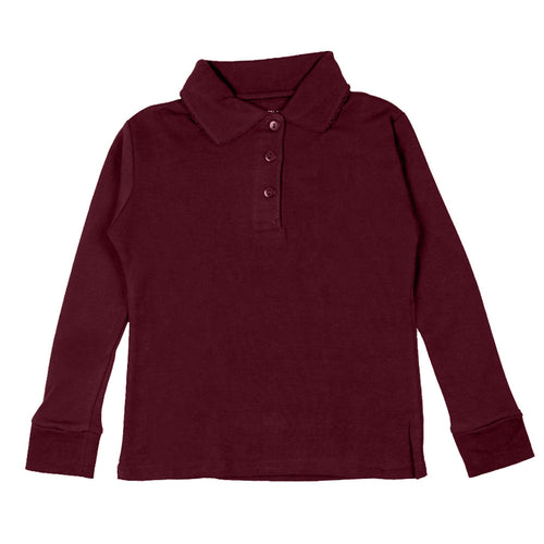 Long Sleeve Interlock Polo - Girls - Burgundy