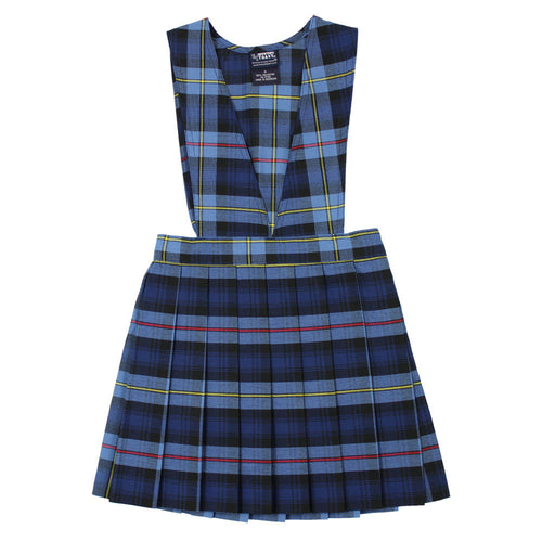 V-Neck Pleated Plaid Jumper - Girls - Blue/Red