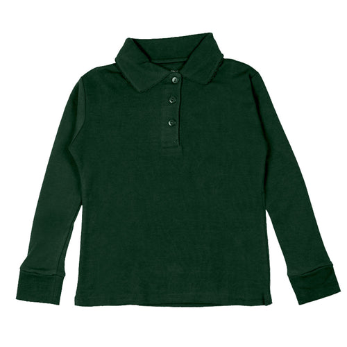 Long Sleeve Interlock Polo - Girls - Hunter
