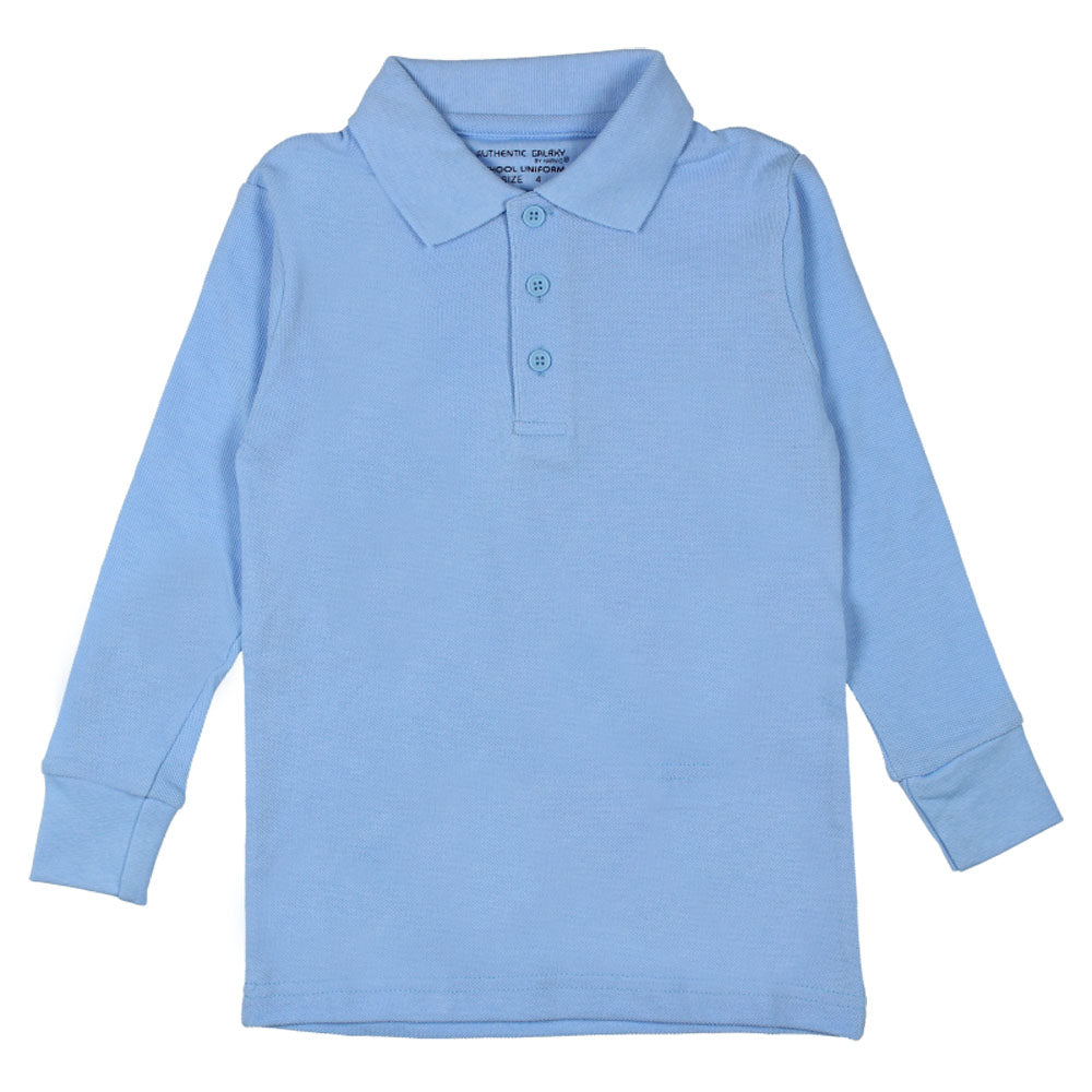 f9488e7d6 Authentic Galaxy. Long Sleeve Pique Polo Shirt - Boys - Light Blue