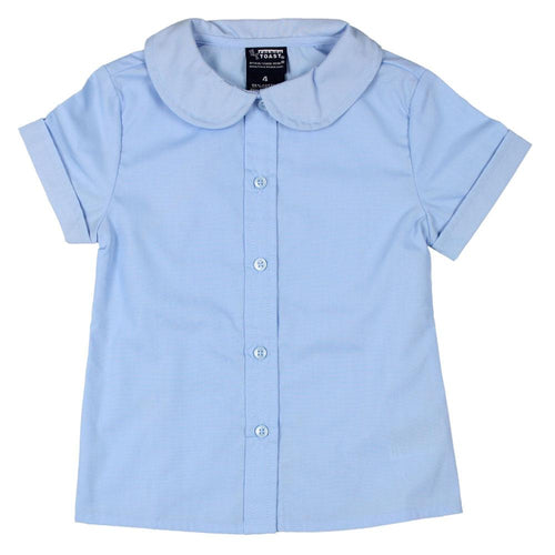 Short Sleeve Peter Pan Collar Blouses - Girls - Light Blue
