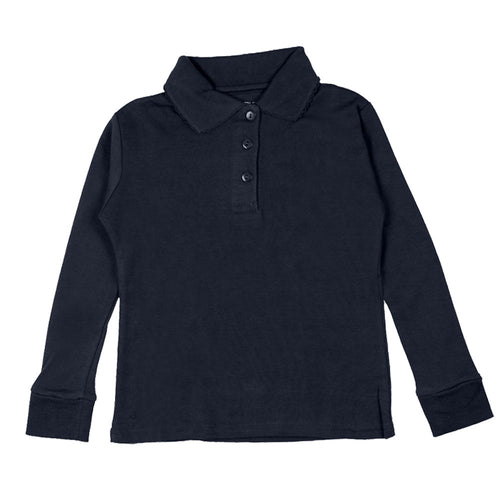 Long Sleeve Interlock Polo - Girls - Navy
