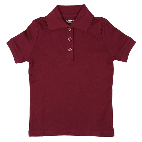Short Sleeve Knit Polo With Picot Collar - Girls - Burgundy