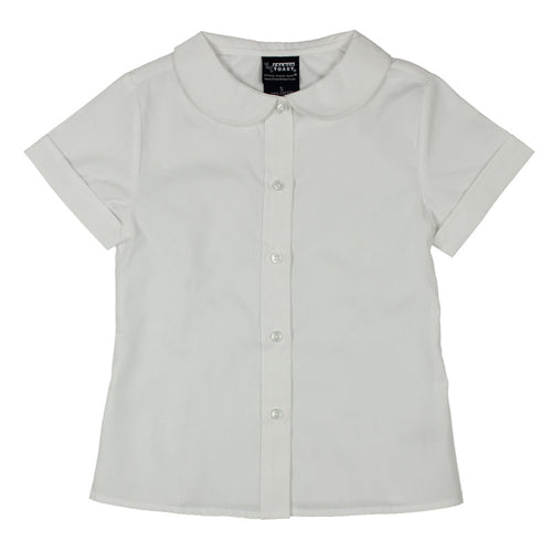 Short Sleeve Peter Pan Collar Blouses - Girls - White