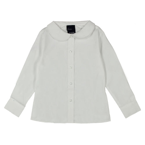 Long Sleeve Peter Pan Collar Blouses - Girls - White