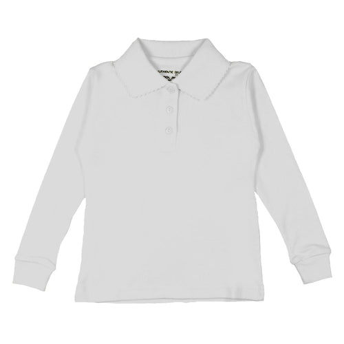 Long Sleeve Interlock Polo - Girls - White
