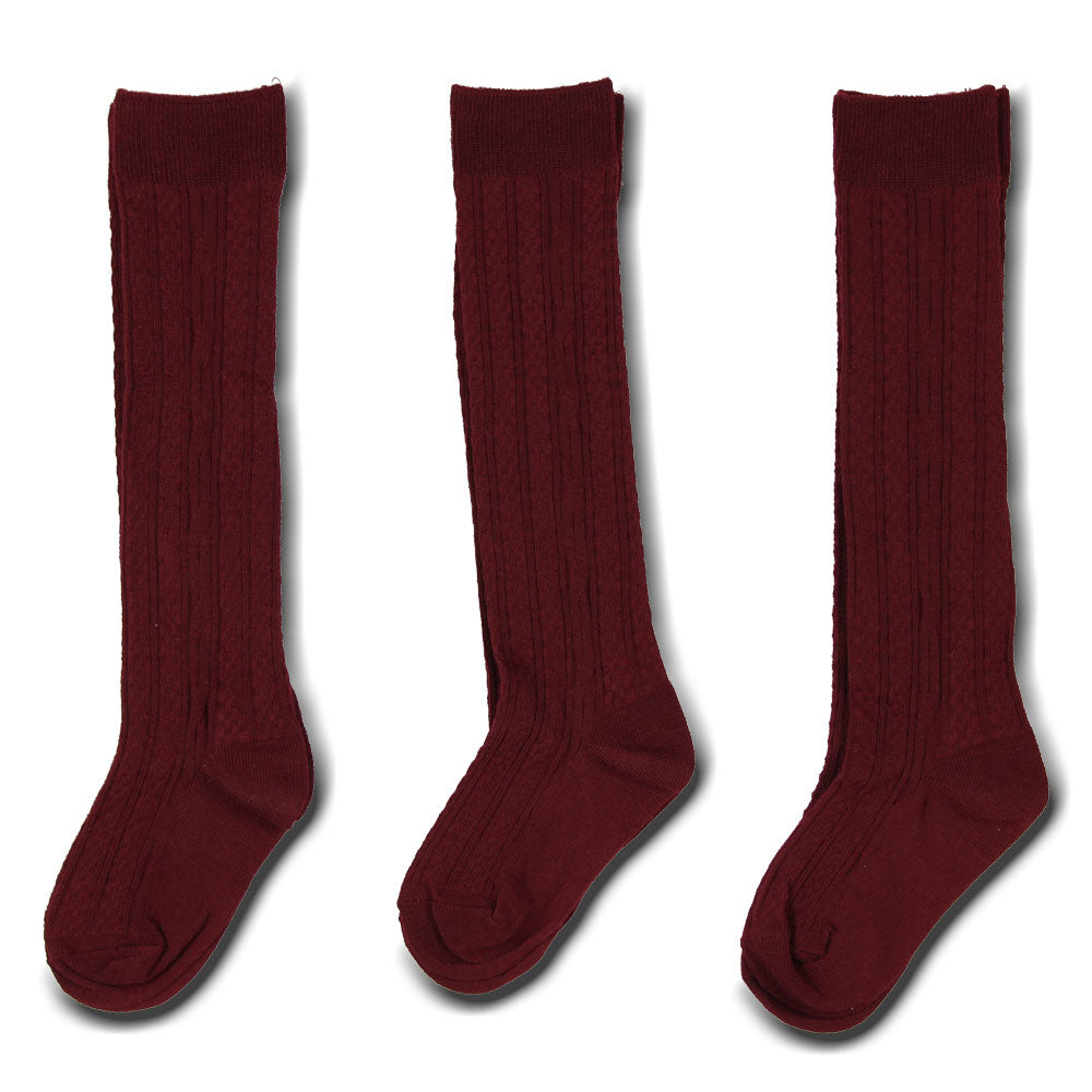3 pack Cable Knit Knee High Socks
