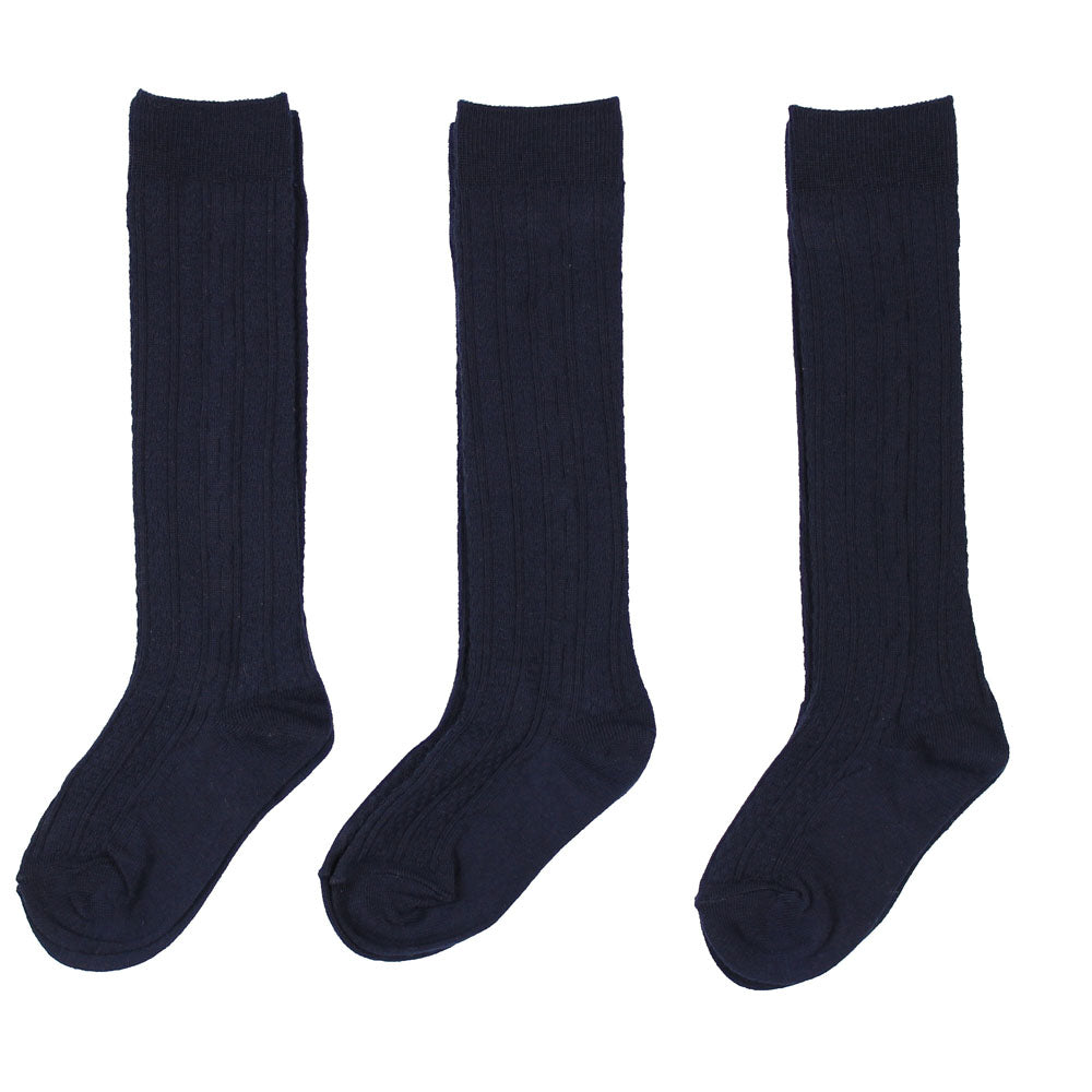 3 pack Cable Knit Knee Hi Socks
