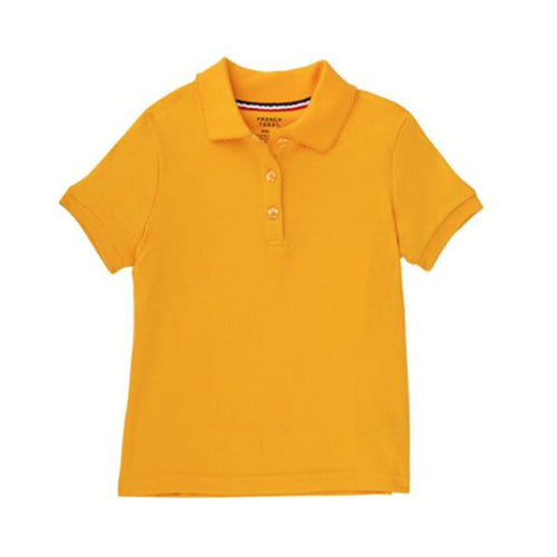 Short Sleeve Knit Polo With Picot Collar - Girls - Gold