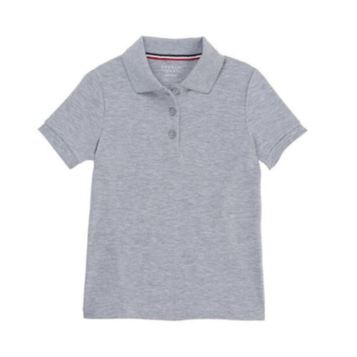 Short Sleeve Knit Polo With Picot Collar - Girls - Grey