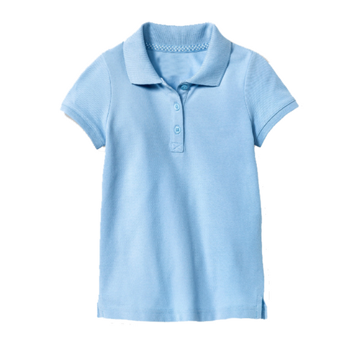 Short Sleeve Pique Polo - Girls - Light Blue