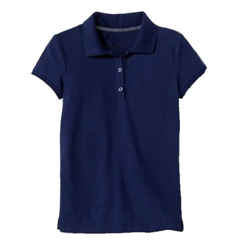 Short Sleeve Pique Polo - Girls - Navy
