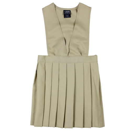 V-Neck Pleated Jumper - Girls - Khaki