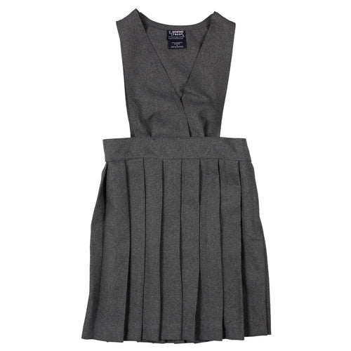 V-Neck Pleated Jumper - Girls - Grey