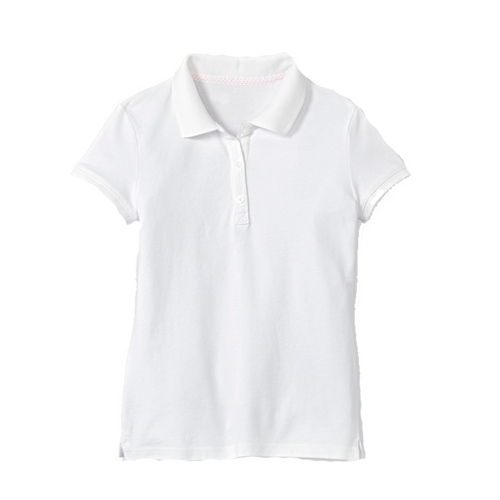 Short Sleeve Pique Polo - Girls - White