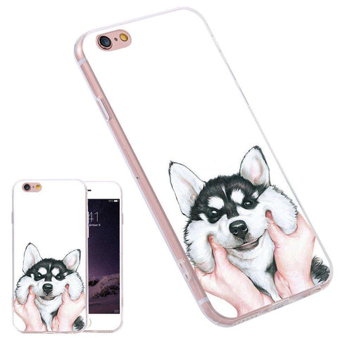 familydoglovers.com - Super Cute Huskey Cartoon Case