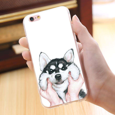 Image of familydoglovers.com - Super Cute Huskey Cartoon Case