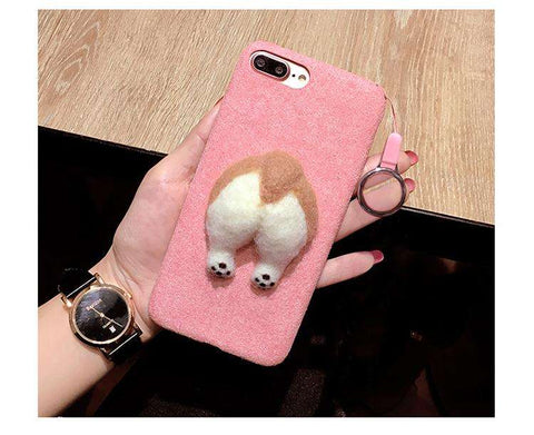 familydoglovers.com - 3D Fluffy Corgi Phone Butt Cases