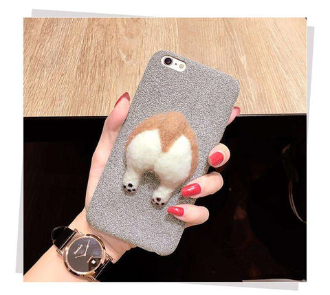 3D Fluffy Corgi Phone Butt Cases