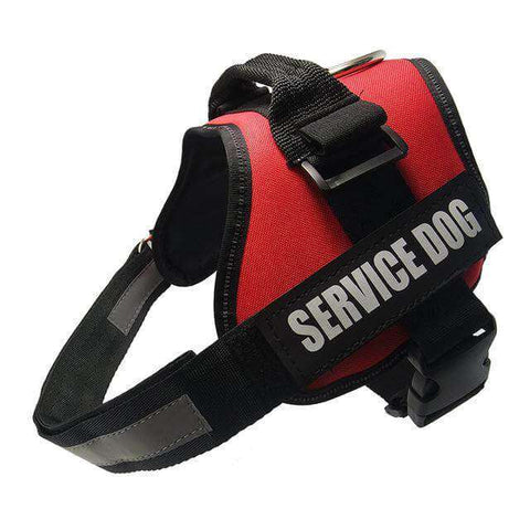familydoglovers.com - Service Dog Harness With Hook and Loop Straps and Handle - red / S