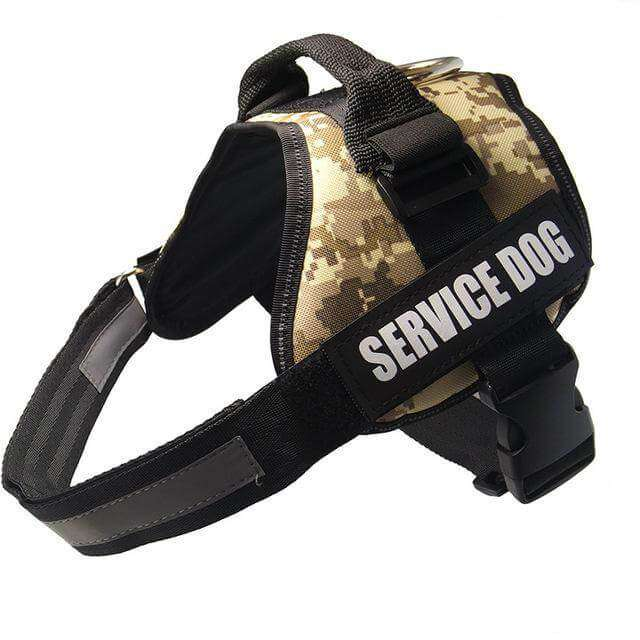 familydoglovers.com - Service Dog Harness With Hook and Loop Straps and Handle - camouflage / S