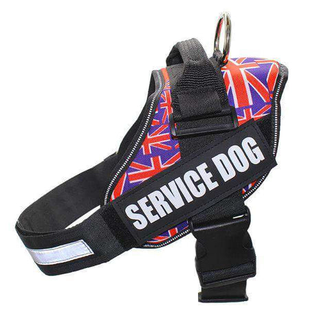 Image of familydoglovers.com - Service Dog Harness With Hook and Loop Straps and Handle - UK flag / S