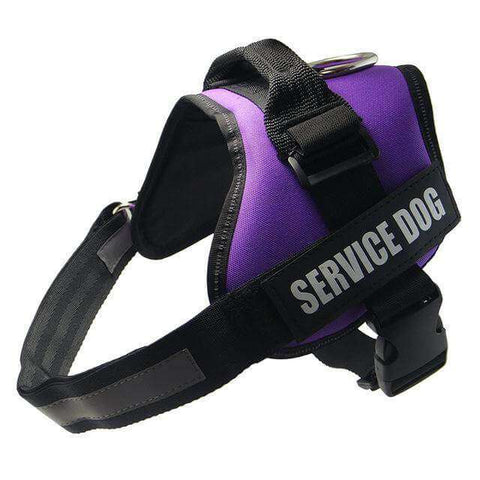 Image of familydoglovers.com - Service Dog Harness With Hook and Loop Straps and Handle - purple / S