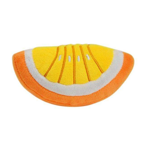 Image of familydoglovers.com - Dog Pet Toys Dog Chew Squeaker Squeaky Plush Baby Bottle Of Fruits And Vegetables - 1/2 Orange