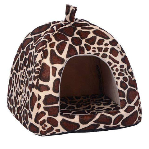 familydoglovers.com - New Dog Bed Pet Dog House Foldable Soft Warm Sponge - Leopard / S