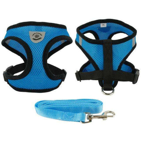 familydoglovers.com - Soft Breathable Puppy Harness and Leash Set - Blue / S